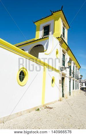 The street in historic center of Faro Portugal.