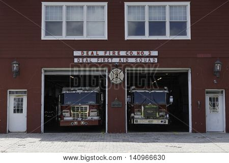 Deal NJ USA -- August 2 2016 Deal Fire Co # 2 and First Aid Station in Deal NJ. Editorial Use Only.