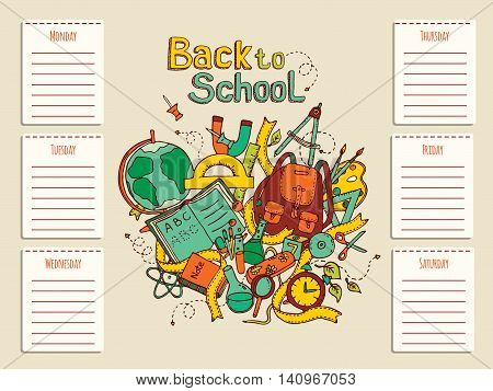 Schedule of school lessons. Timetable with hand drawn sketch illustration of education objects, doodles elements. Vector EPS10