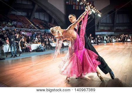 Wroclaw, Poland - May 14, 2016: An Unidentified Dance Couple In Dance Pose During World Dance Sport