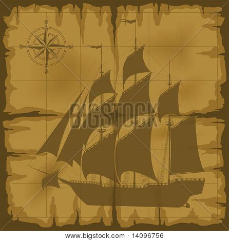 Old Map With Image Of Large Ship And Compass Rose