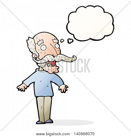 cartoon old man gasping in surprise with thought bubble