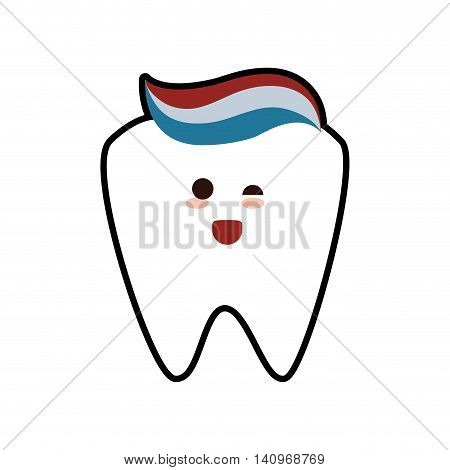 tooth paste cartoon dental care health hygiene icon. Isolated and flat illustration. Vector graphic