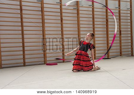 Warsaw Poland - June 25 2016: A gymnast with the sash