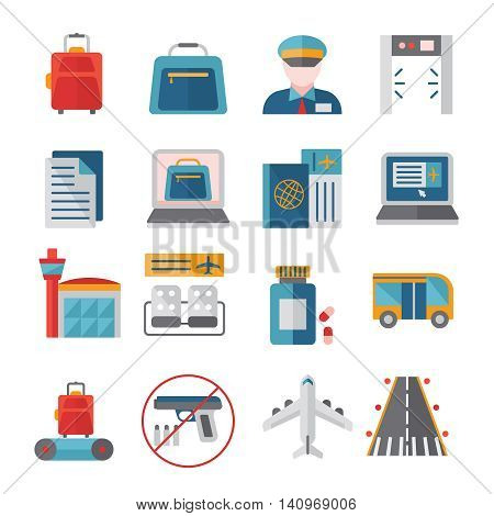 Airport flat icons set with customs and security control online registration and travel documents isolated vector illustration