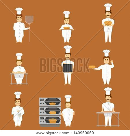 Baker set of characters with bread and cooking tools on tan background isolated vector illustration