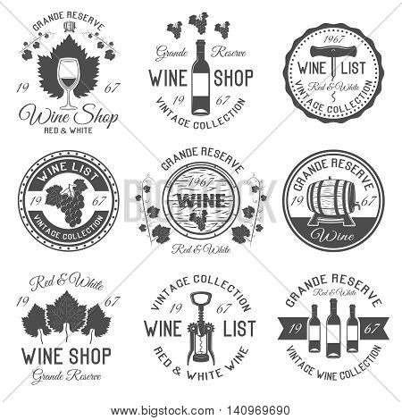 Wine shop black white emblems with leaves and bunches of grapes wooden barrels glassware isolated vector illustration