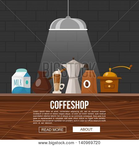 Coffee shop design with objects for making beverages on wooden bar counter in light beam vector illustration