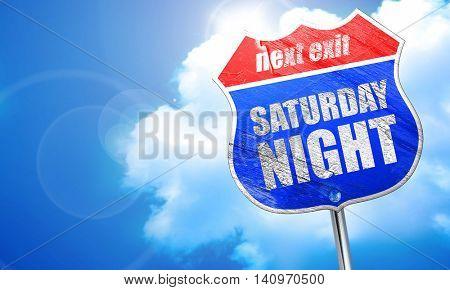 saturday night, 3D rendering, blue street sign