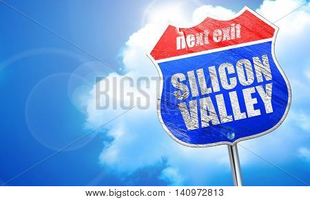 silicon valley, 3D rendering, blue street sign