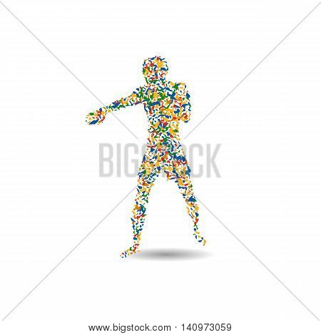 boxing Olympic games 2016. Summer Games Icon Boxing Brazil Rio. Boxer player icon. Sporting Championship International Boxing. vector illustration