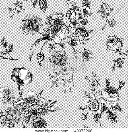 Seamless vector vintage pattern with Victorian bouquet of black flowers on a white background. Garden roses tulips delphinium petunia anemone. Monochrome. Lace.