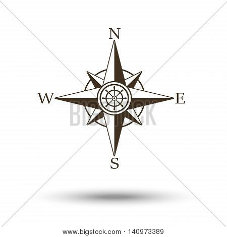 Compass wind rose icon isolated on white