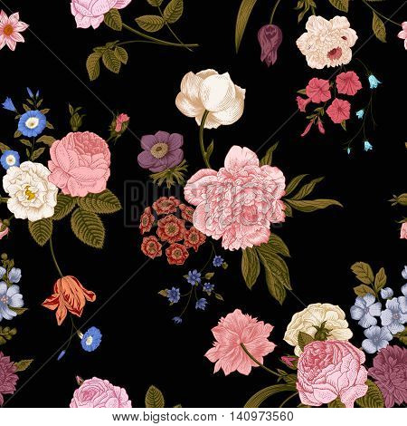 Seamless vector vintage pattern with Victorian bouquet of vivid flowers on a black background. Coral yellow roses tulips delphinium petunia with green leaves.