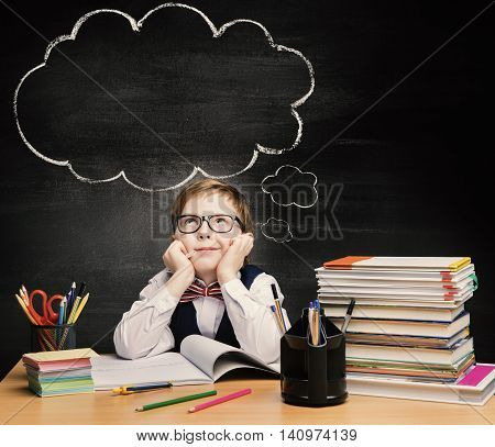 Kids Education Child Boy Study in School Thinking or Dreaming over Bubble on Chalkboard