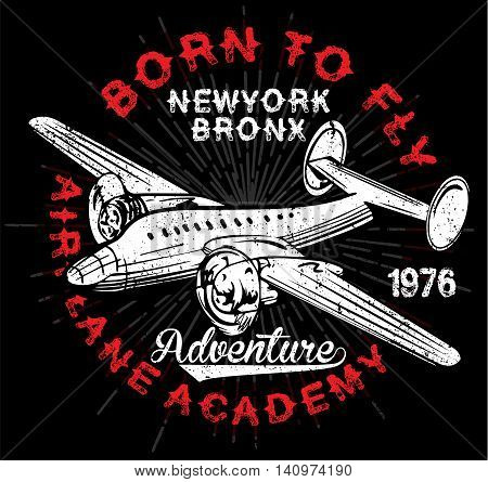 Vintage Airplanes typography shirt graphics vectors  fashion style