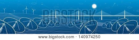 Many radars in mountains landscape. Big bridge on horizon, windmills, wind force, energy and communication technology illustration, vector design art