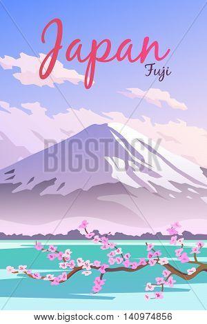 Vector retro poster. Mount Fuji in Japan. Travel poster. Flat design.