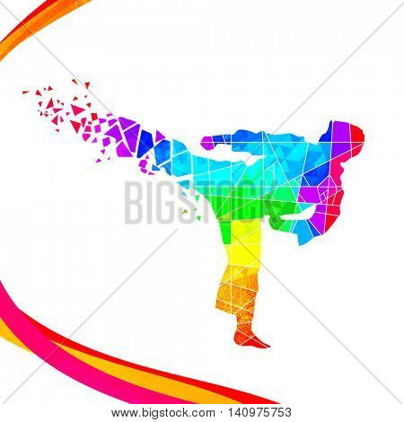Creative illustration of Judo Fighter made by colorful abstract design for Sports concept.