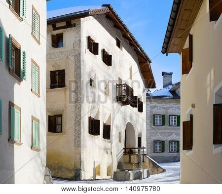 A typical houses in the older part of Guarda, SwitzerlandGuarda it is one of the best preserved and characteristic villages of the Unterengadin.
