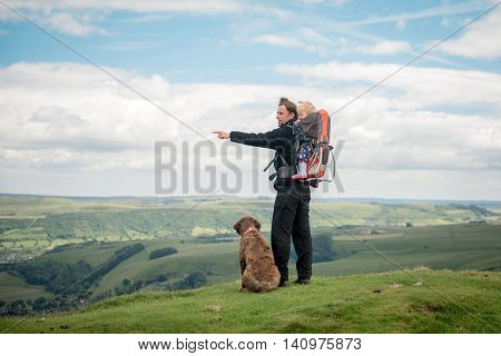 Hiking Activity With Child And Dog