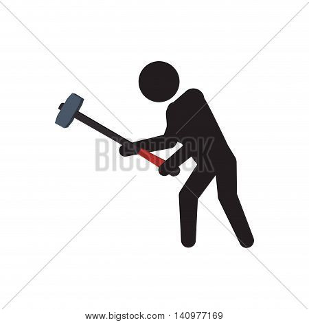 pictogram hammer crossfit fitness gym sport icon. Isolated and flat illustration. Vector graphic