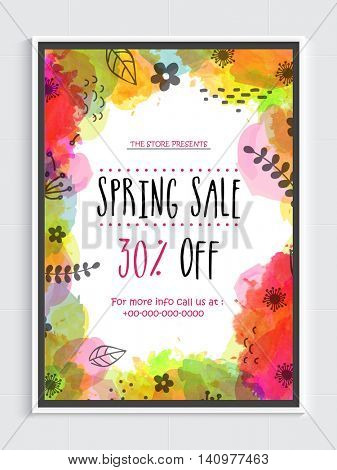Spring Sale Flyer, Sale Banner, Sale Poster, Discount Upto 30% Off, Vector Sale Illustration with colorful abstract splash.