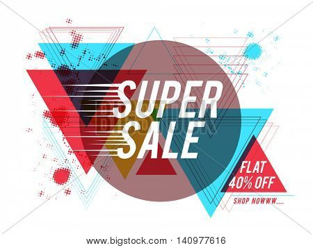 Super Sale with Flat 40% Off, Creative colorful abstract geometric background, Stylish Poster, Banner or Flyer design.