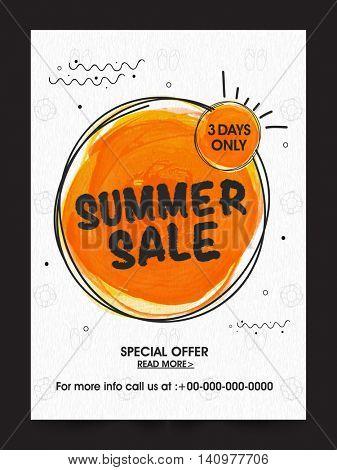Summer Sale Poster, Sale Banner, Sale Flyer, 3 Days Only, Special Offer Sale, Vector illustration.