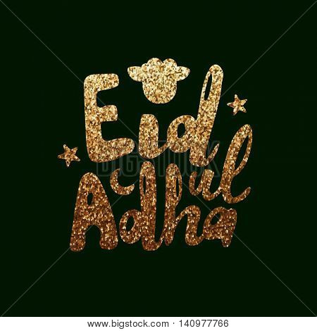 Golden glittering Text Eid-Ul-Adha with Sheep Face on green background for Muslim Community, Festival of Sacrifice Celebration.