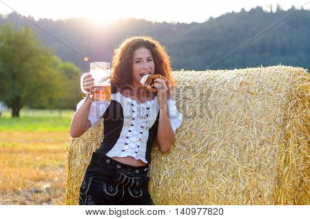 Attractive Woman Enjoying The Oktoberfest
