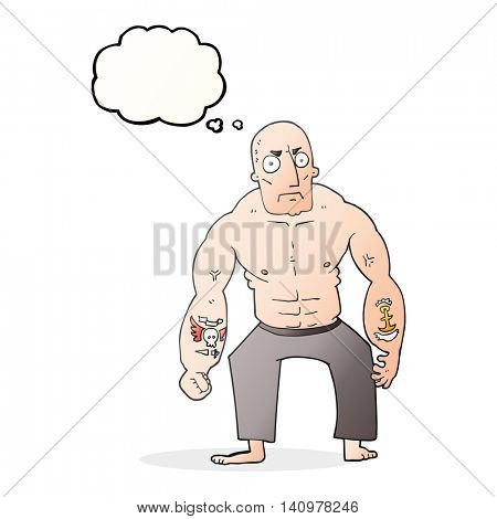 freehand drawn thought bubble cartoon tough man