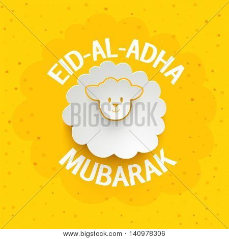 Muslim Community, Festival of Sacrifice, Eid-Al-Adha Mubarak with creative paper cutout of a Sheep on dotted yellow background.