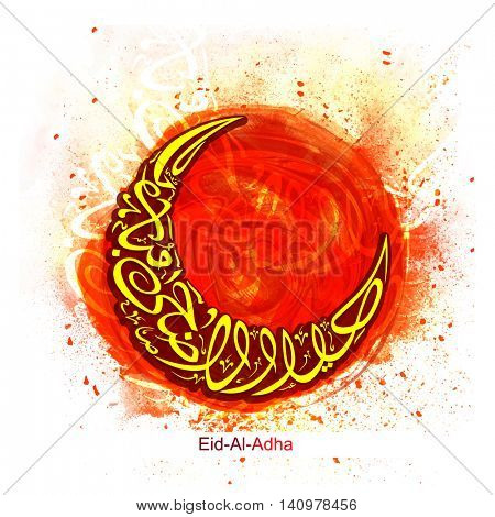 Stylish Arabic Islamic Calligraphy of Text Eid-Al-Adha Mubarak in Cresent Moon shape on abstract paint stroke background for Muslim Community, Festival of Sacrifice Celebration. Vector illustration.