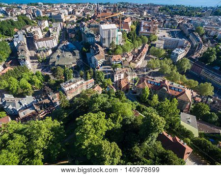 Aerial view of Lausanne city in Switzerland