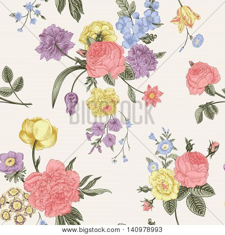 Seamless vector pattern with Victorian bouquet of pastel flowers on a gray background. Coral yellow roses tulips blue delphinium.