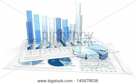 Blue Graphs and Charts. 3D render of financial documents with graphs and pie charts of glass.