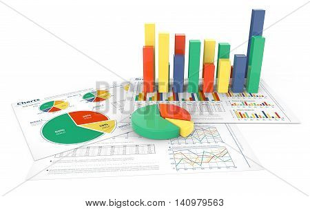 Financial Reports. 3d illustration of Financial documents with colorful 3D graphs and pie charts.