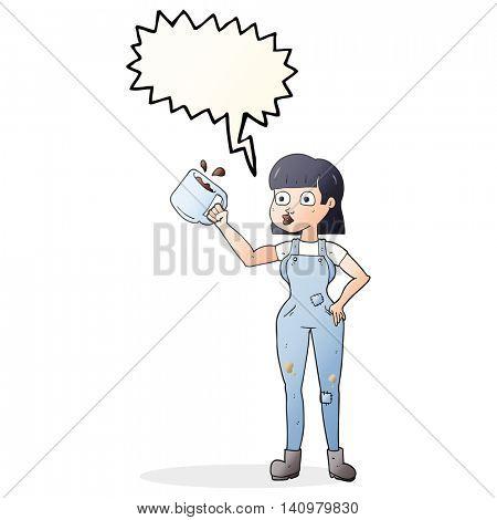freehand drawn speech bubble cartoon female worker with coffee mug