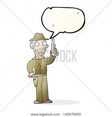 freehand drawn speech bubble cartoon sheriff