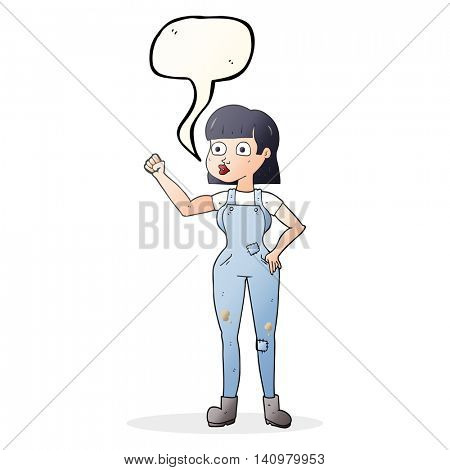 freehand drawn speech bubble cartoon woman clenching fist