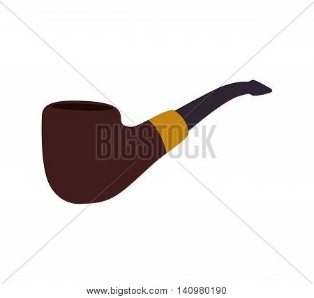 pipe wood tobacco smoke hipster icon. Isolated and flat illustration. Vector graphic