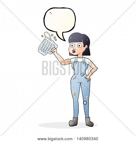 freehand drawn speech bubble cartoon woman with beer