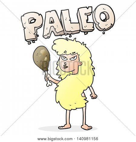 freehand drawn cartoon woman on paleo diet
