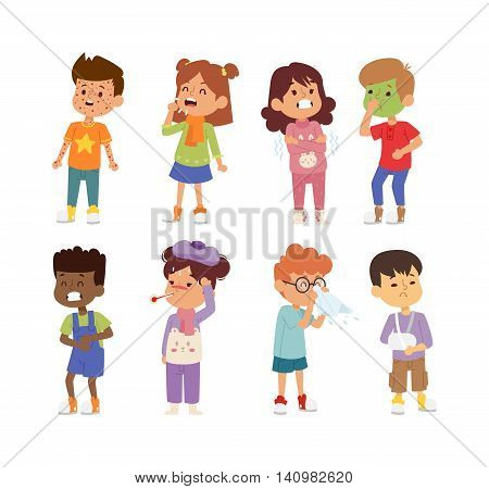 Children sick sickness disease little kids characters set. Flu problem health stick sick children figure pictogram icons. Sad influenza sick children little people hospital resting childcare.
