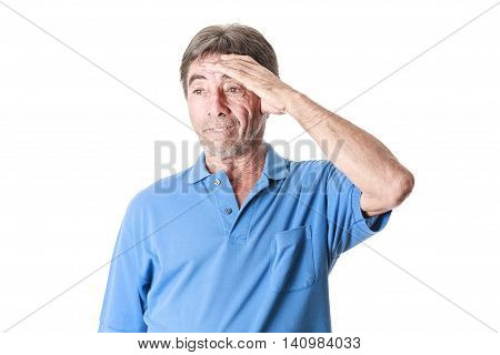 Elderly Man Suffering From A Headache Isolated On White Background