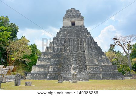 TIKAL, GUATEMALA MAY 03 2016 : The archaeological site of the pre-Columbian Maya civilization in Tikal National Park , Guatemala The park is UNESCO World Heritage Site since 1979