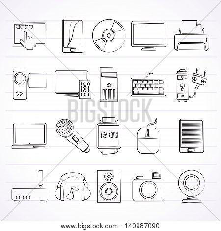 home electronics and personal multimedia devices icons - vector icon set