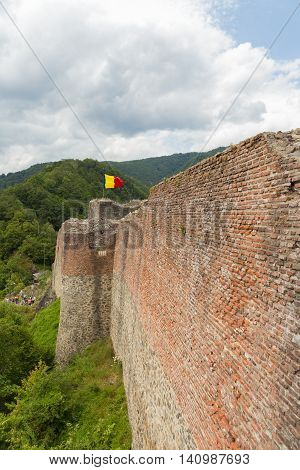 Medieval fortress on top of the mountains. Poenari fortress, Vlad the Impaler (Vlad Tepes in Romanian) ruller in XVI century, now an important touristic attraction in Romania