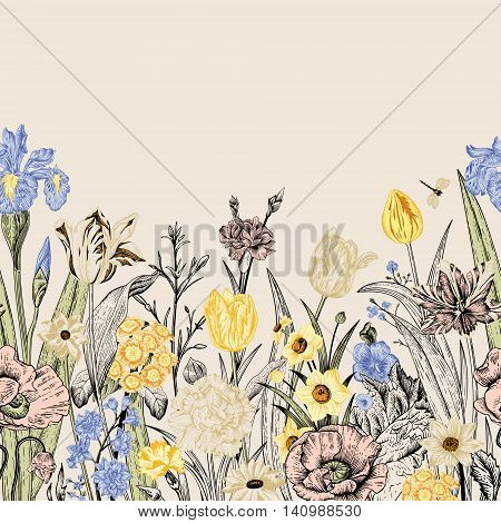 Spring flowers. Seamless floral border. Poppies iris tulips carnations primroses daffodils on a beige background. Garden bed. Vintage vector illustration.